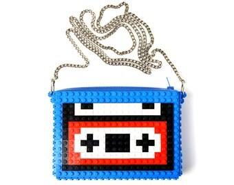 Blue crossbody purse with casette tape made with LEGO® bricks FREE SHIPPING handbag trending fashion gift party wedding retro