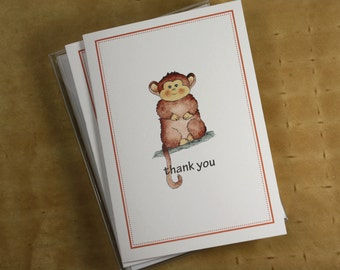 Year of the Monkey 2016, Baby Monkey, Chinese New Year, Thank You Notecards, Set of 8