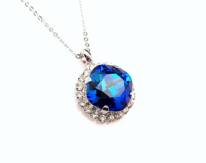 Swarovski bermuda blue square princess cut crystal pendant necklace clear rhinestone trim setting sterling silver chain necklace bridesmaid