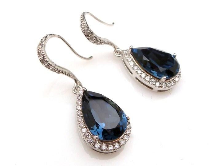 SALE set of 3 4 5 6 7 8 pairs bridesmaid wedding bridal earrings Clear white teardrop cubic zirconia deep navy montana blue crystal hook