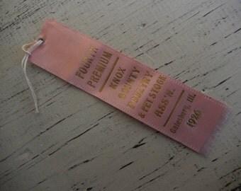 Fair Ribbon Vintage Prize Pink Silk Award 1926 Galesburg, Illinois