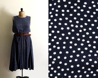 vintage dress 80s navy blue polka dot sleeveless 1980s womens clothing size medium m