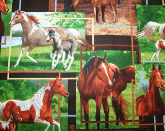 "Stunning HORSE FABRIC! Beautiful Horses in picture blocks : ""Mares and Their Foals"""