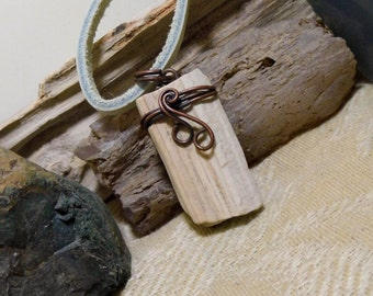 Antique Copper Rustic Stone Leather Necklace Natural Petrified Wood 001