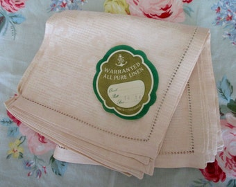 set of 6 pink linen napkins - made in Czechoslovakia, new, unused, damask