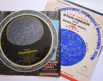 vintage PLANISPHERE and Luminous STAR FINDER and Zodiac Dial - Philips' and Rand McNally - circa 1970 and 1982