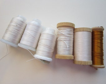 silk thread spools - GUDEBROD Bros Champion Silk, Zwicky, and Belding Brothers - partial spools, sizes C, D, and E - white and dark yellow