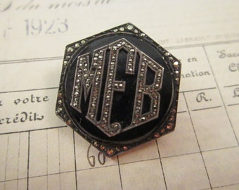vintage marcasite initial brooch - made in France, marcasite initial pin - MFB