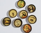 8 (Eight) Piece Resin Filled Bottle Caps - Bottle Caps, Encased Resin, Jewelry Supplies, Assemblage Supplies, Mixed Media Supplies