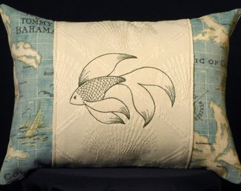 New Embroidered Accent Pillow Caribbean Fish with Tommy Bahama fabric New 12 x 16 Insert — Item 201