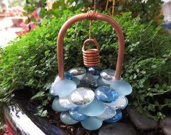 Fairy Garden, Wishing Well, Blue Winter Copper and Glass Wishing Well, Miniature Garden Art