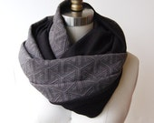SALE! Circle Scarf Grey Geo Quilted Knit with Black