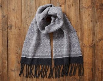 Fair Isle Knit Scarf, women blanket scarf, grey scarf, wool scarf, scarf for mum, fringed scarf, long scarf, warm scarf, handmade scarf, uk