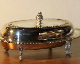Covered Butter Dish Sheridan Silverplated Footed Butter Dish Vintage