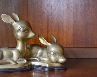 vintage brass deer statue