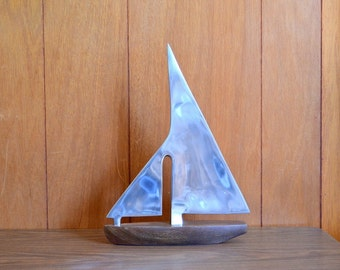 vintage metal and wood sailboat figurine