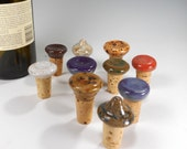 Wine bottle stopper - 10 wine cork party wedding favors - ceramic wine corks - pottery wine stoppers - stoneware wine corks assortment of 10