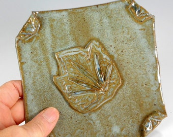 Ceramic soap dish, pottery soap holder dish, hand built stoneware soap dis, square soap dish with grape leaf design, soap dish