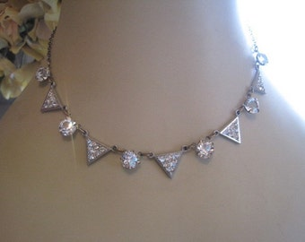 Vintage Rhinestone Triangle and Round Open Back Necklace Bride Bridal