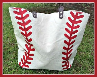 Baseball Tote Bag with bright red laces
