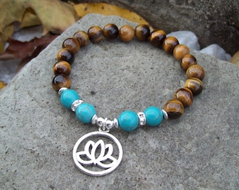 Tigereye gemstone Beaded Meditation Stretch Bracelet with Turquoise Howlite and Lotus charm