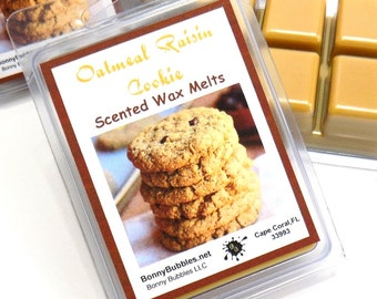 OATMEAL RAISIN COOKIE Wax Melt - 6 cubes - clamshell breakaway cubes - soy blend - smells like fresh oatmeal raisin cookies - 3 oz