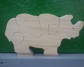 Rhino Wooden Puzzle Poplar Hardwood