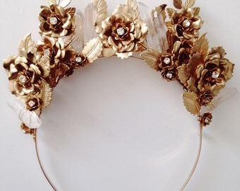 Colette, brass rose and crystals headband #1302