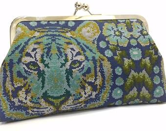 clutch purse - eye of  - 8 inch metal frame clutch purse - large purse- clutch purse - tiger- blue - roar- kisslock - clutch