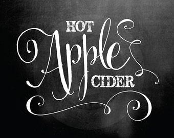 Chalkboard Hot Apple Cider Signs