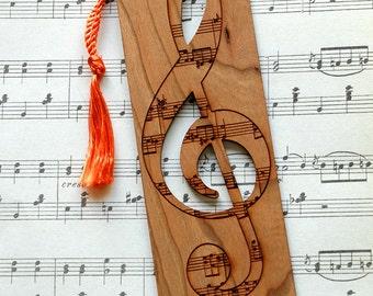 Music Bookmark, Treble Clef Bookmark, Music Style Bookmark, Wood Bookmark, Music Lovers Bookmark