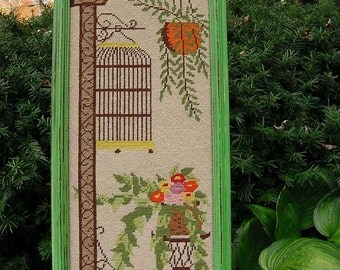 Vintage Needlepoint Framed Picture -Birdcage, Hanging Basket, Floral Plant Stand -Green Orange Pink Brown Yellow Ecru Wool Crewel 10.5 x 25