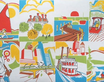 Roll of mid-century wallpaper