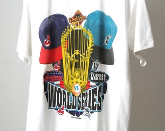 vintage 1997 world SERIES florida MARLINS & Cleveland Indians white Medium t-shirt MLB vintage baseball top tee