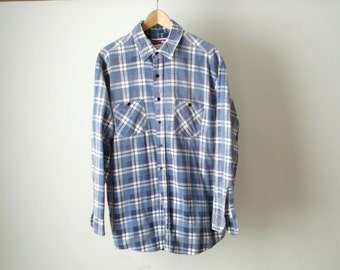 GRUNGE soft cotton 90s plaid FLANNEL made in USA