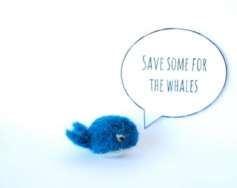 Tiny Whale, Save Some for the Whales, Boyfriend Gift, Best Friend Gift, Retro Recess, Felted Whale