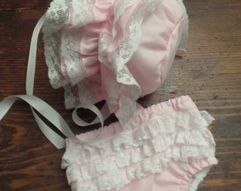 Ruffled Baby Bonnet and Diaper Cover FREE SHIPPING