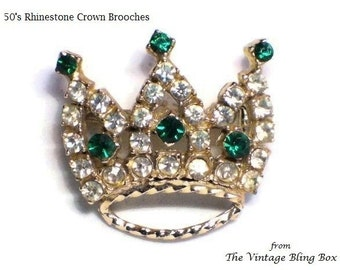 50's Green Emerald Rhinestone Crown Brooch with Clear Crystal Accents Pave Set in Gold Figural Motif - Vintage 1950's Costume Jewelry