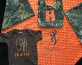 Real tree Mossy Oak camo baby boy personalized 3 piece gift set- blanket, bodysuite, bib