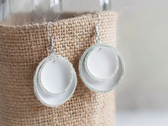 White leather circle earrings SALE
