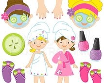 SALE Girls Spa Party Cute Digital Clipart, Commercial Use OK, Spa Party Graphics, Spa Party Clip art, manicure clipart, facial, fingernail p