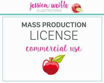 Commercial Use License for MASS PRODUCTION - License to sell more than 1000 copies of a product - Good for ONE Clipart Set