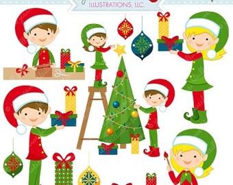 SALE Santas Helpers Cute Digital Christmas Clipart - Commercial Use OK - Cute Elves, Christmas Elf, Christmas Graphics