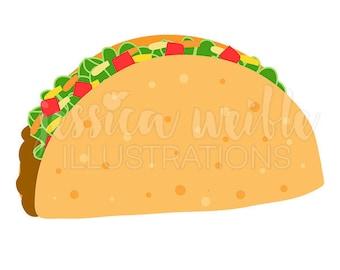 Crunchy Taco Cute Digital Clipart, Taco Clip art, Taco Graphic, Mexican Food, Cinco de Mayo, Taco Illustration, #1681