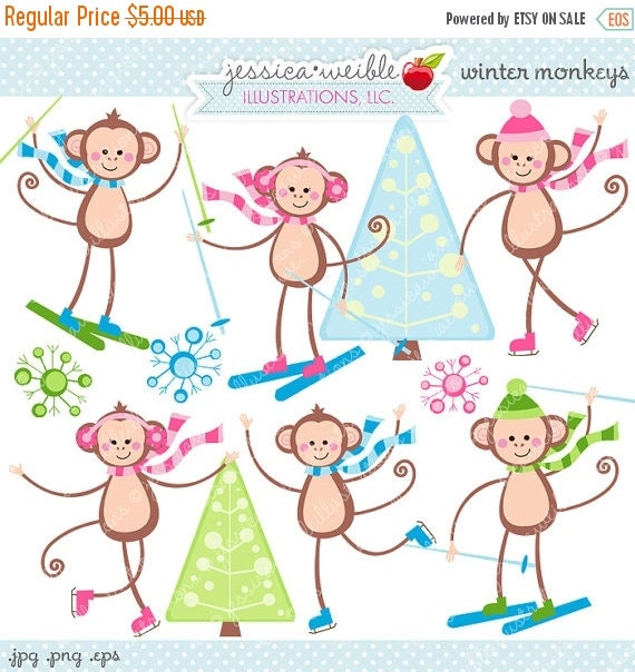 SALE Winter Monkeys Cute Digital Clipart - Commercial Use OK - Ice Skating Monkeys, Skiing, Ice Skating, Cute Monkey Clipart, Christmas Grap