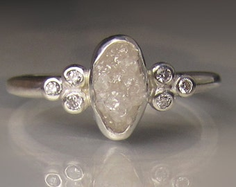 White Raw Diamond Engagement Ring, Raw Diamond Cluster Ring, Rough Uncut Conflict Free Diamond