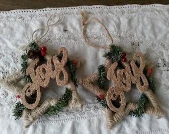 Vintage Christmas ornaments Joy burlap Country Christmas ornaments Set of 2 vintage fabric ornaments Rustic Christmas home decor stars