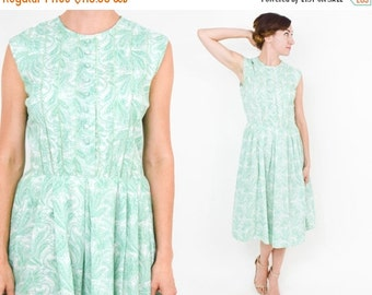 SummerS SALE 50s Floral Cotton Dress | White Green Floral Print Day Dress | Small
