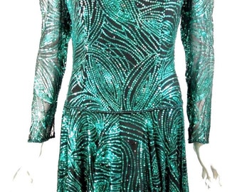 Vintage Green sequined Formal Dress XS-S Red Carpet Evening Gown Hand Made Fancy