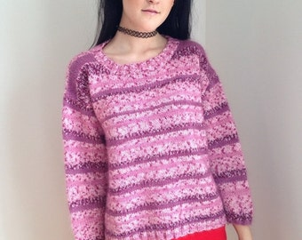 FALL SALE vintage 1970s sweater/ pink plum / ice skating / winter/ size medium